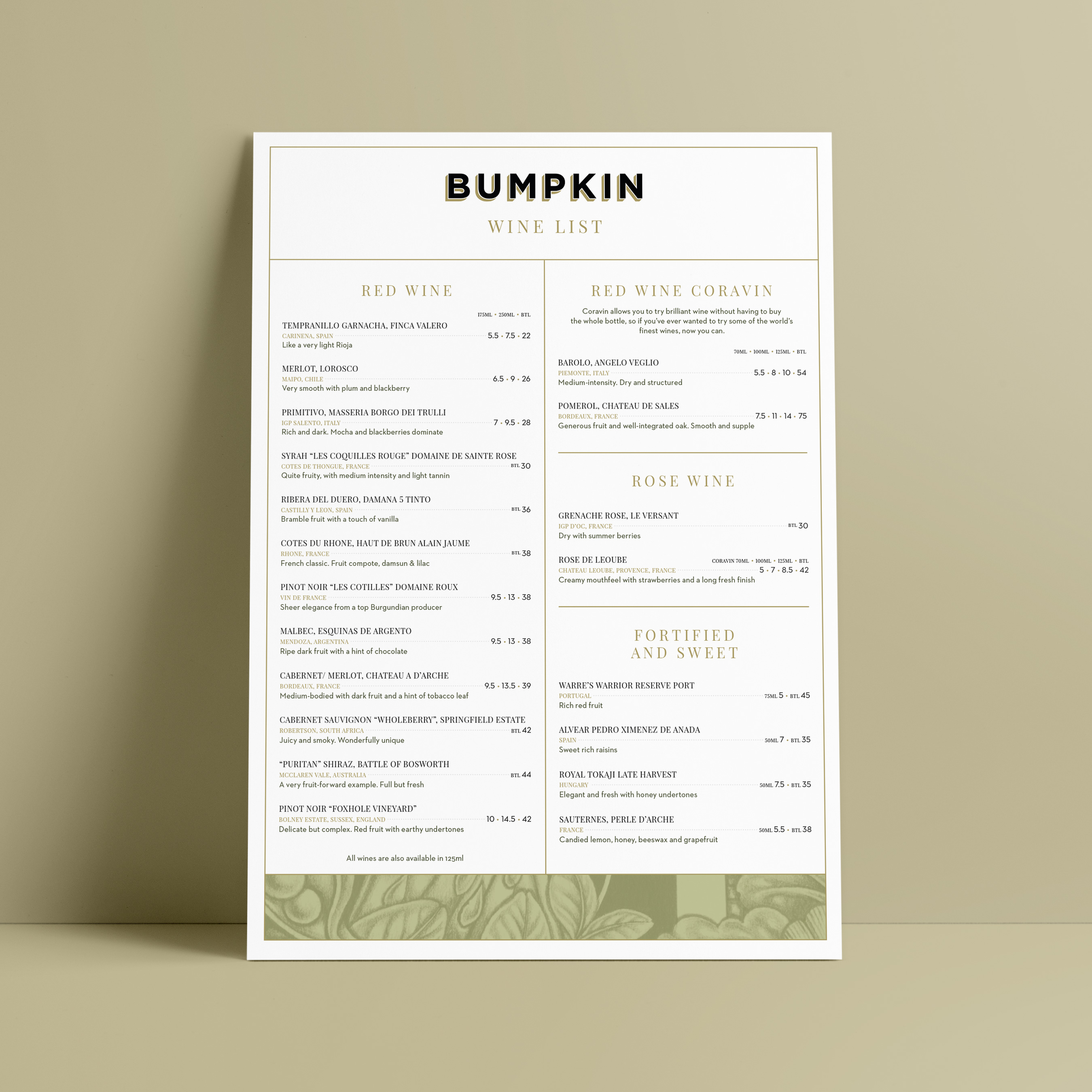 Restaurant menu design and print