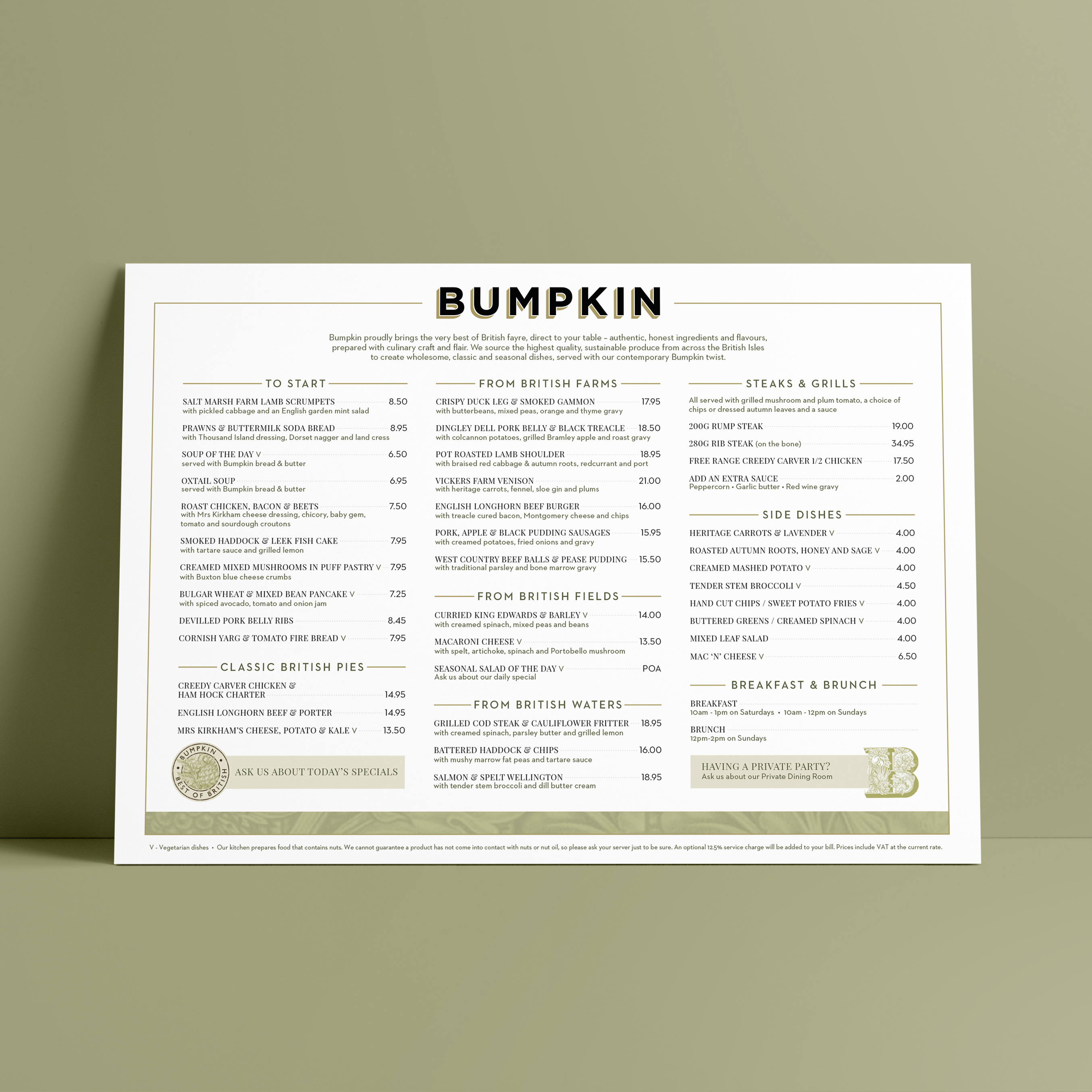 Restaurant menu design and artwork