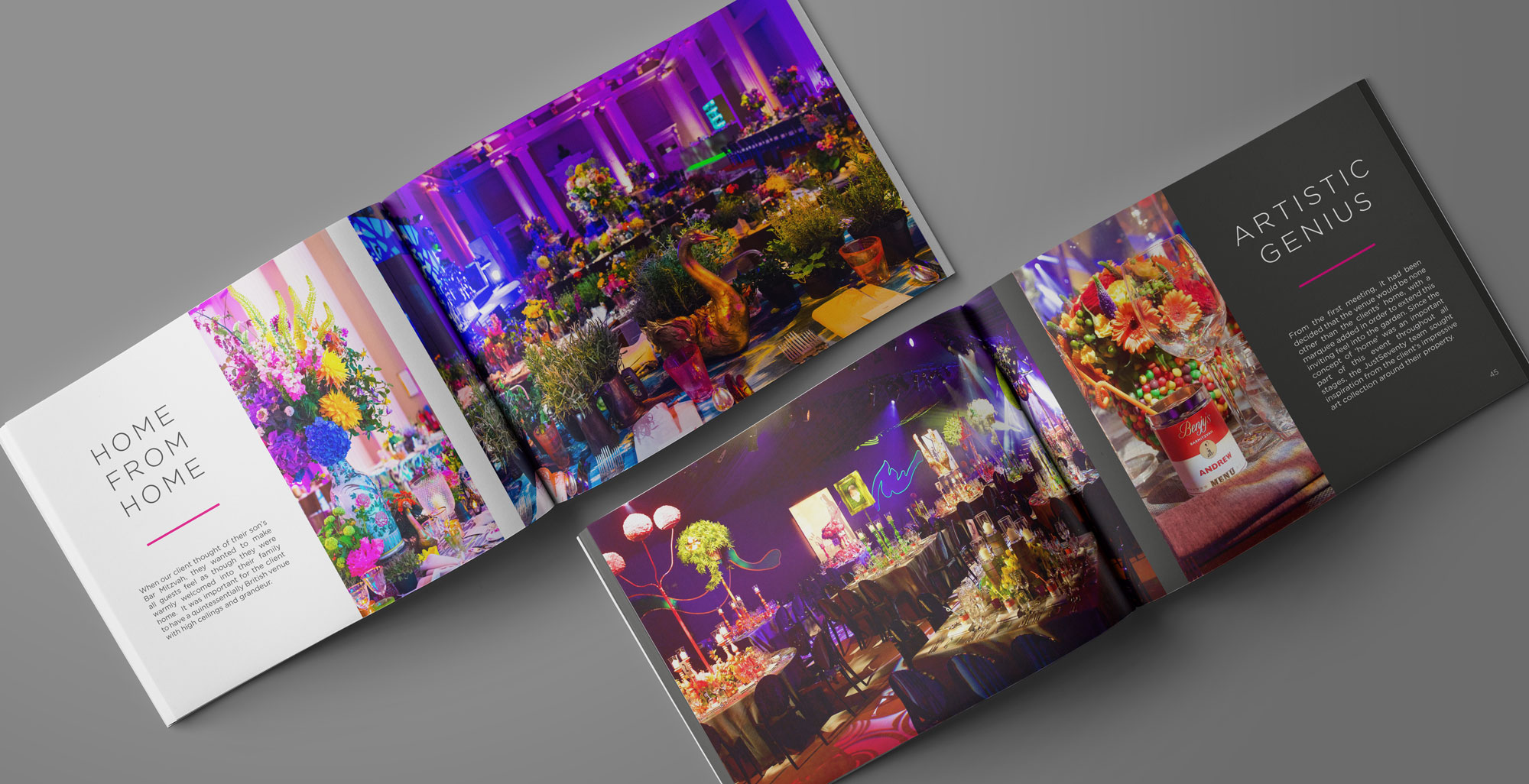 website and brochure creation for event design and production company