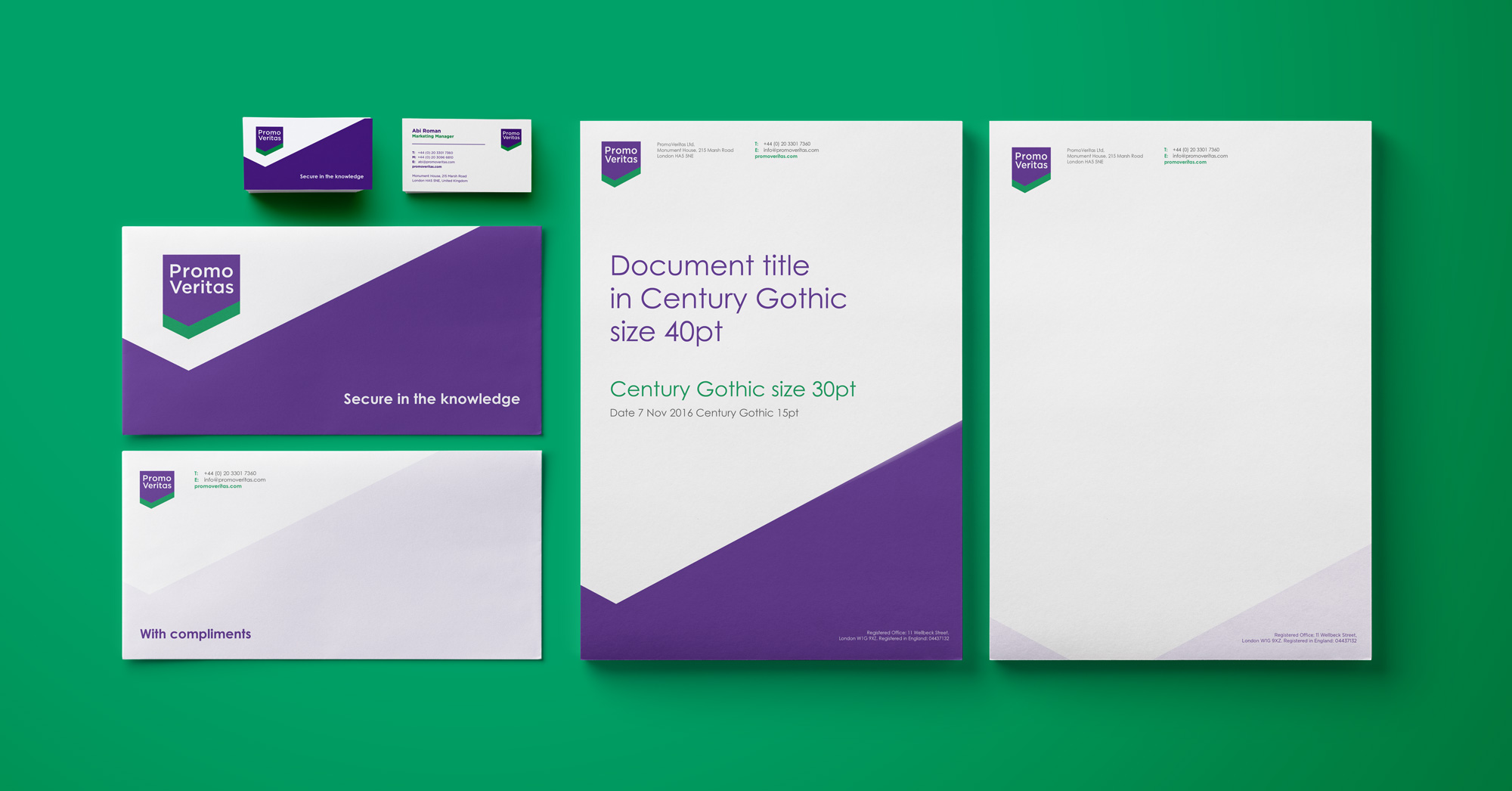 Stationery design and identity for PromoVeritas